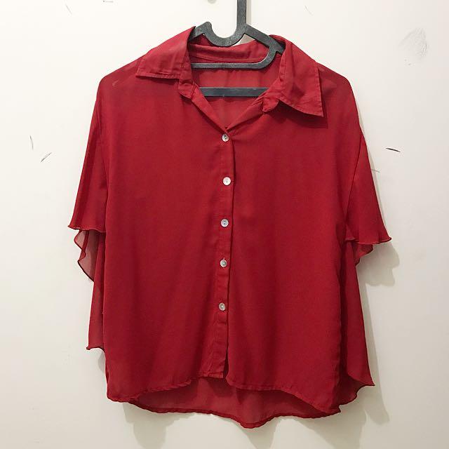 batwing red chiffon shirt