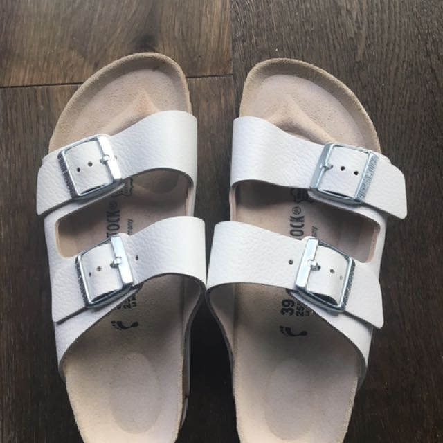 Birkenstock White Leather Slippers