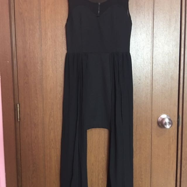 Black Dress With Side Train