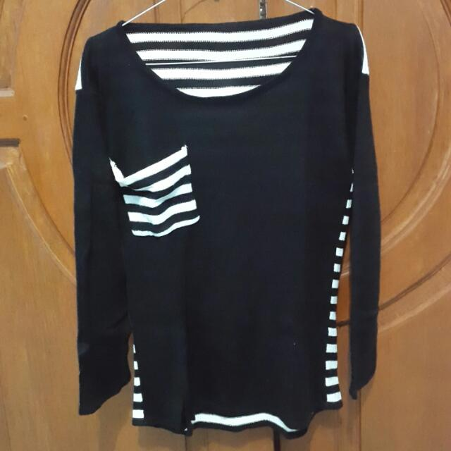 bLack striped knit Long sLeeves / baju rajut tangan panjang