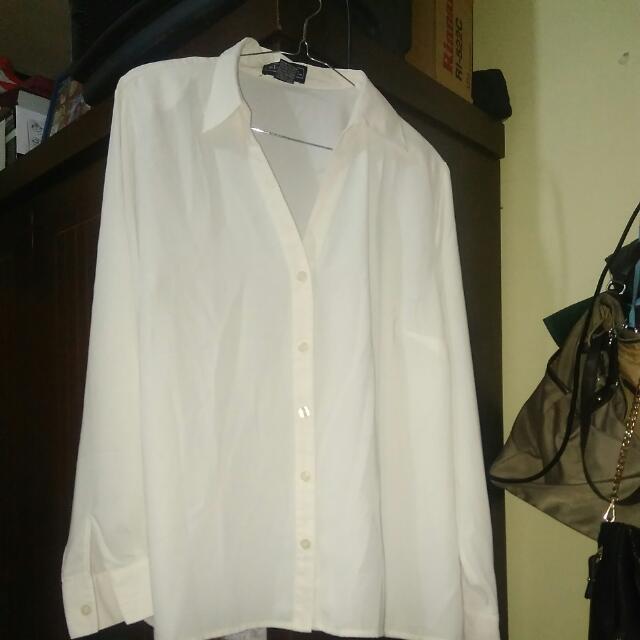 blouse kemeja putih tulang bigsize