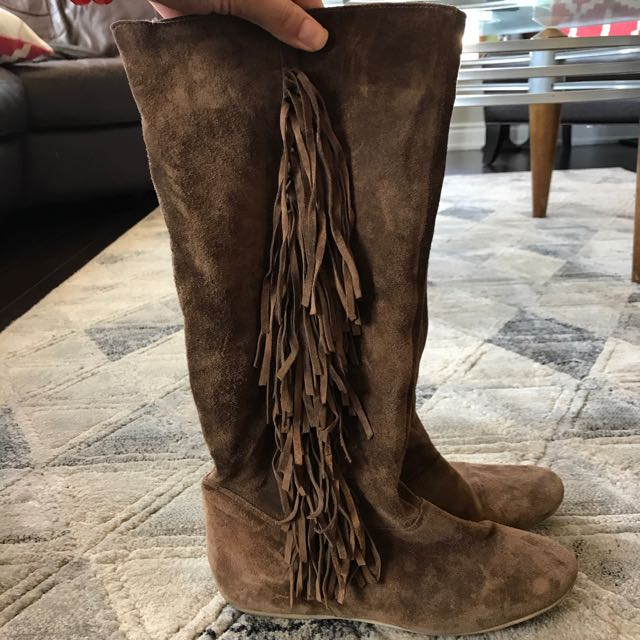 Brown Suede Fringe Flat Boots