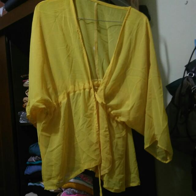 cardigan kuning sifon model kimono