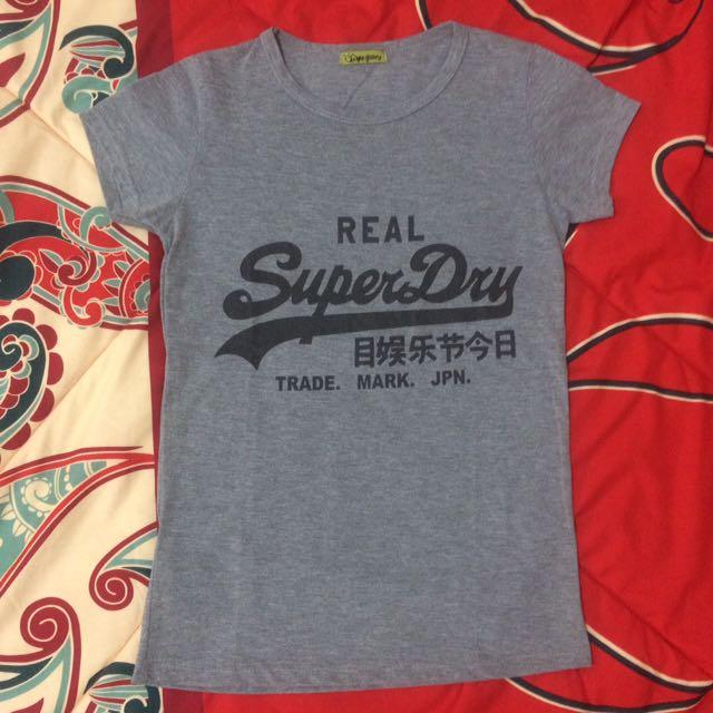Dark Grey Real Superdry Tumblr T-Shirt Tee