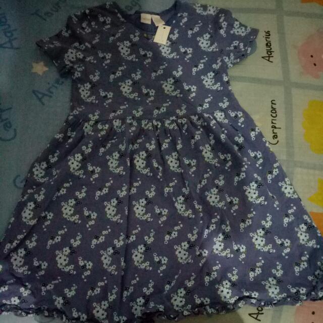 Dress Biru Bunga-bunga  Dress Anak Perempuan dress Murah