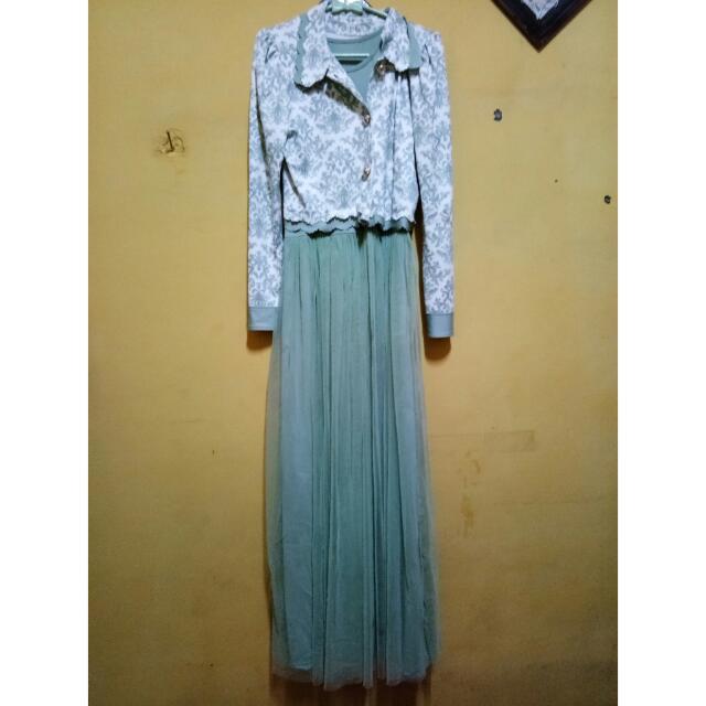 [[TURUN HARGAAA!!]] Dress Mewah Soft Hijau JADI 100rb