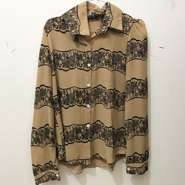 floral brown shirt