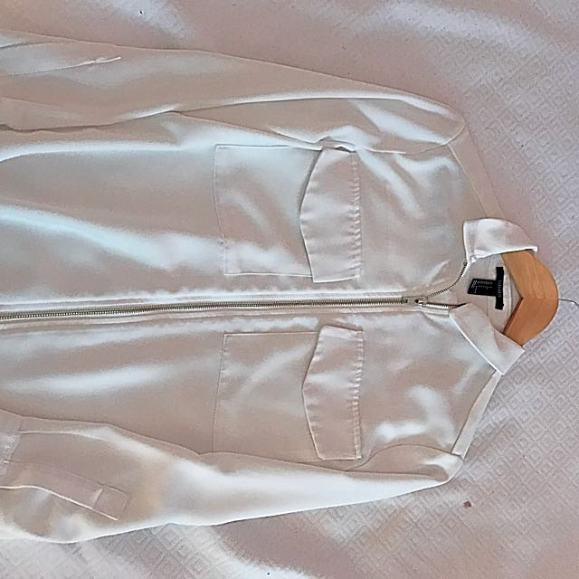 Forever 21 White Zip Up Jacket