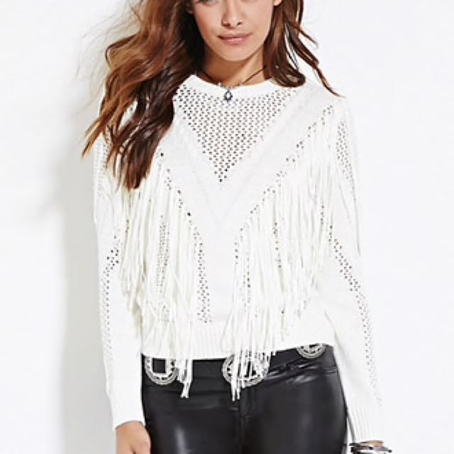 Fringed Open Knit Sweater