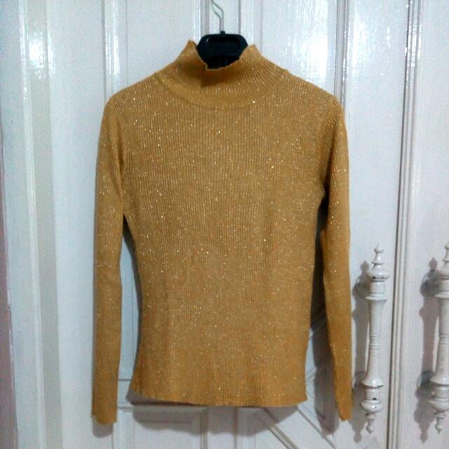 Gold Glittery Turtleneck Sweater