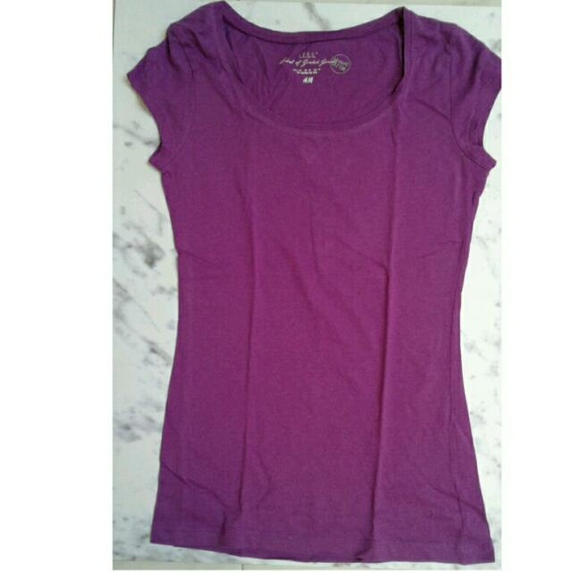 H&M Basic LOGG T-shirt Purple