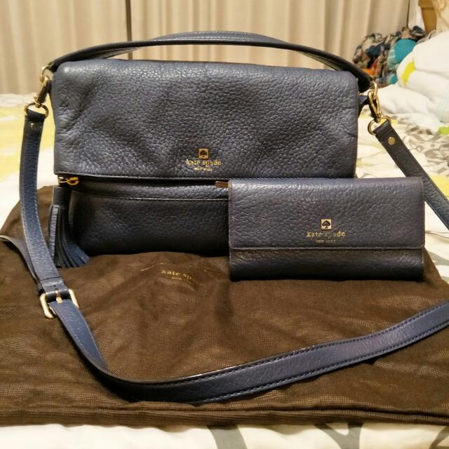 Kate Spade 藍色真皮手提包附長背帶