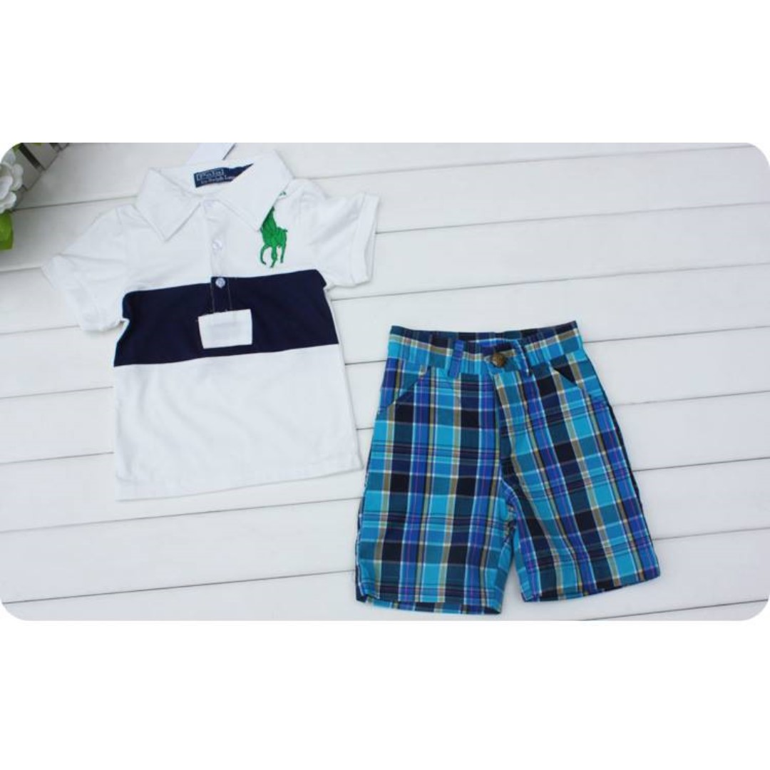 Lapel Shirt and Plaid Shorts Set