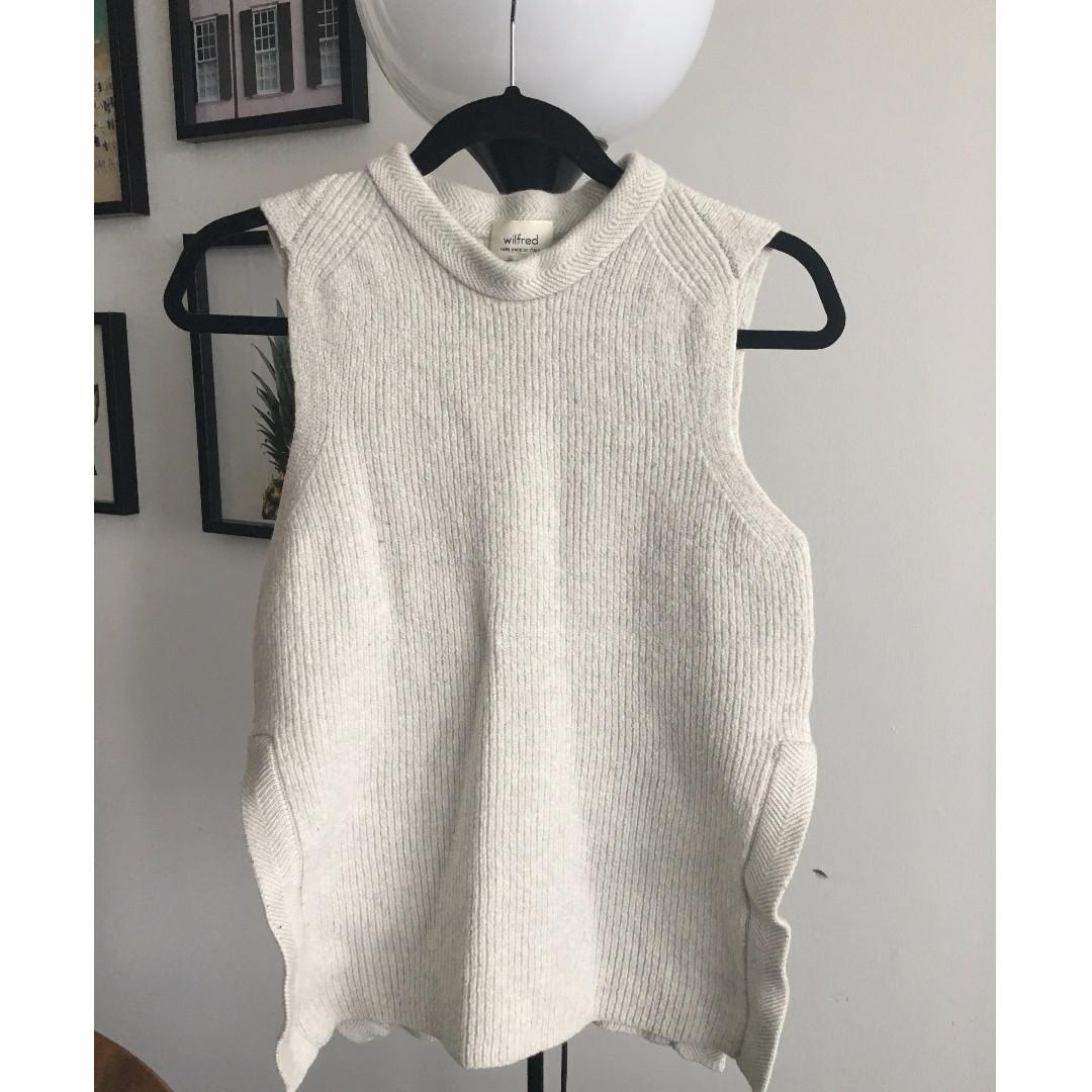 Light grey, 100% wool sleeveless vest