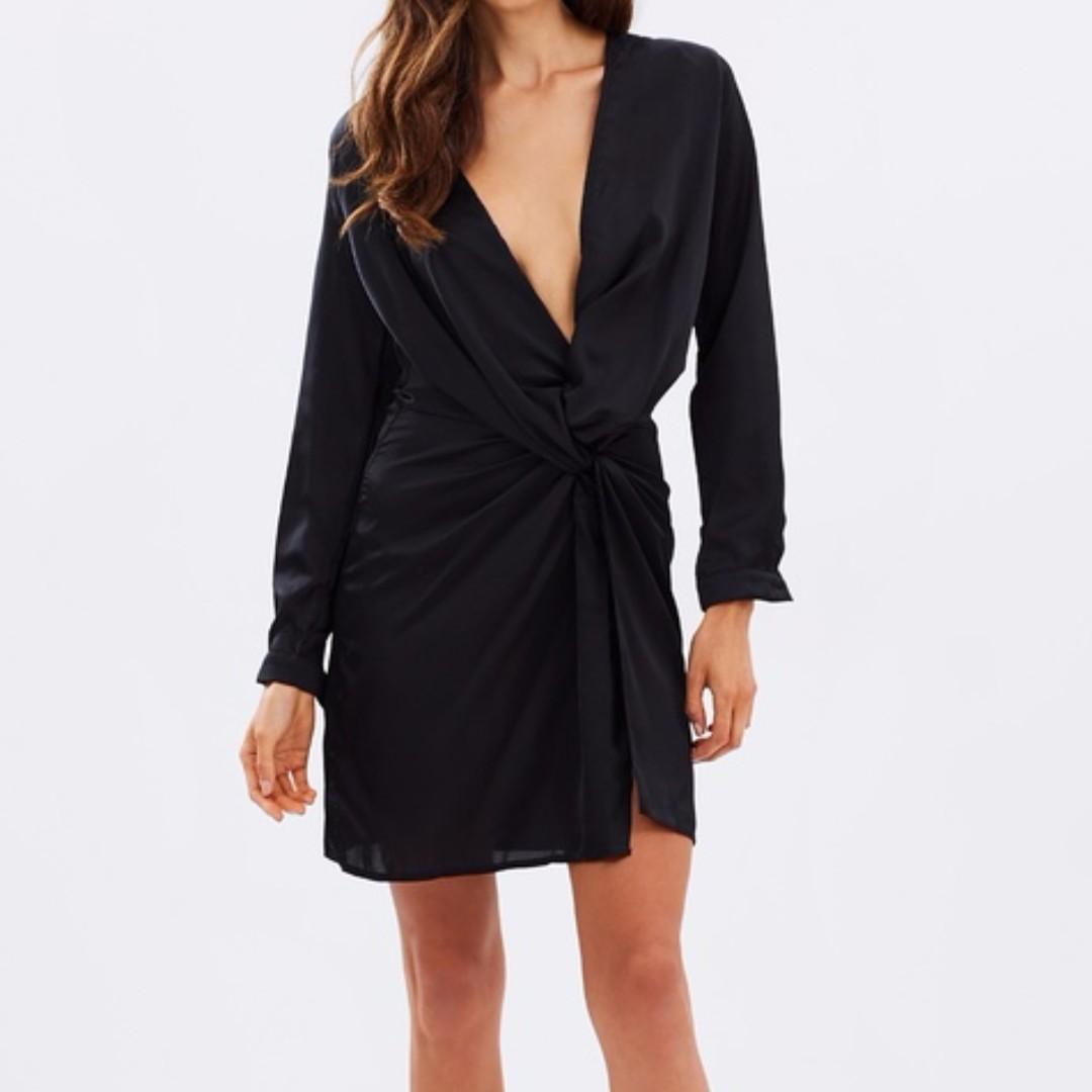 LIONESS Silk Wrap Dress