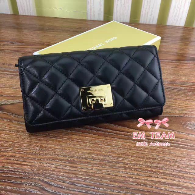dca171f180c8 MK Astrid Black Leather Quilt Carryall Wallet