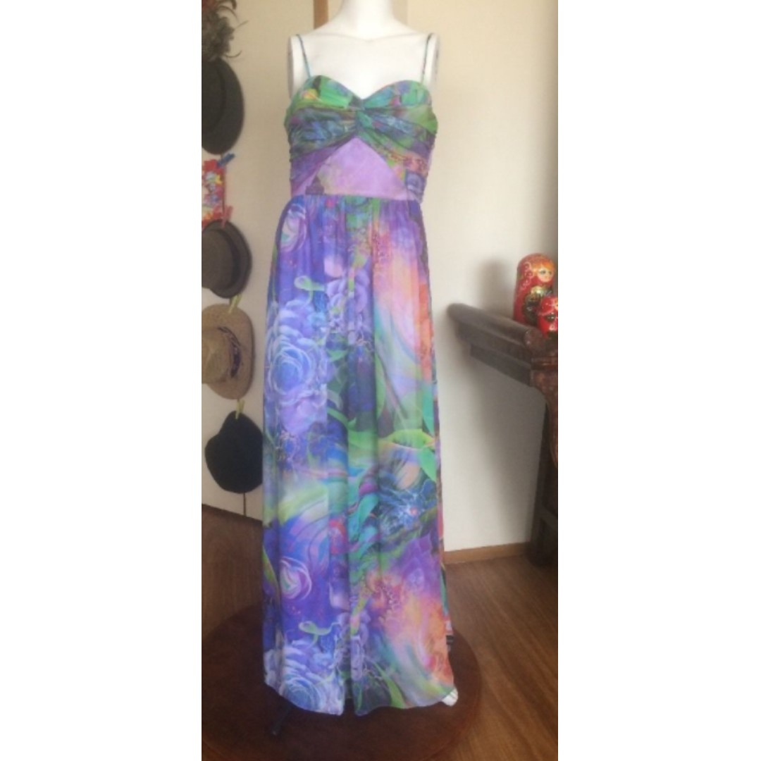 Multi Color Full Length Dress Sz 12 Perfect 4 Formal Party Wedding or Anytime