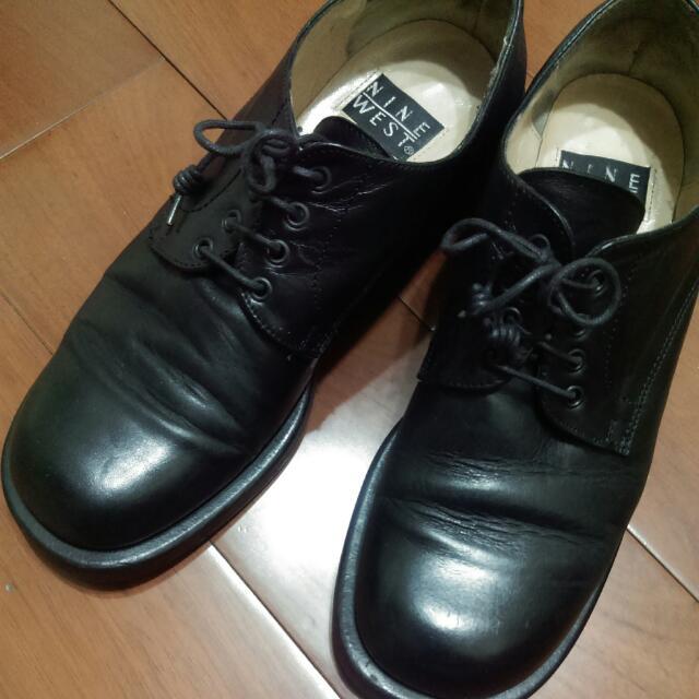 黑色九西皮鞋Nine West 真皮女鞋