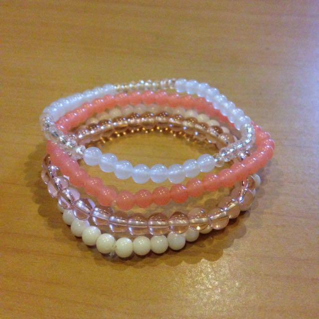 Pink elastic bracelet set