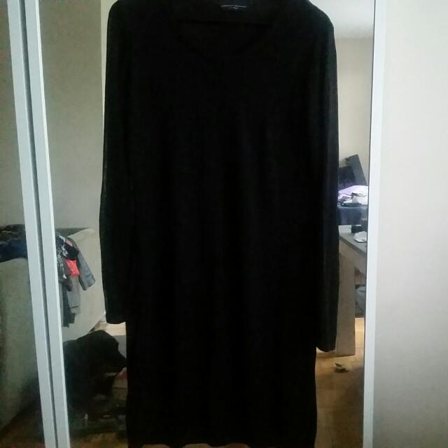 Plus Size Sheer Black Long Sleeve Dress-size 18uk