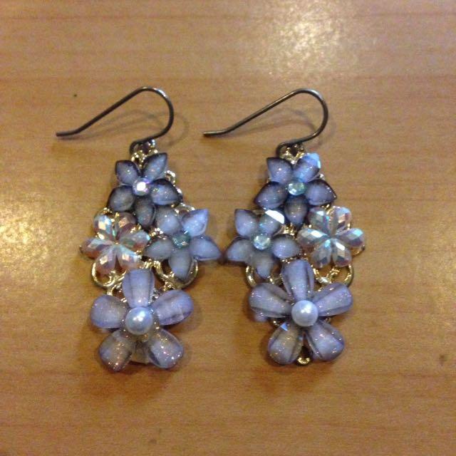 Purple and gold flower earrings