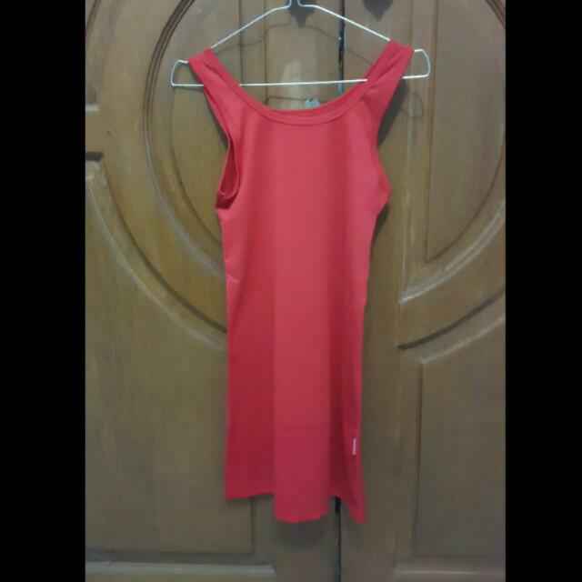 red Long tanktop /tanktop panjang