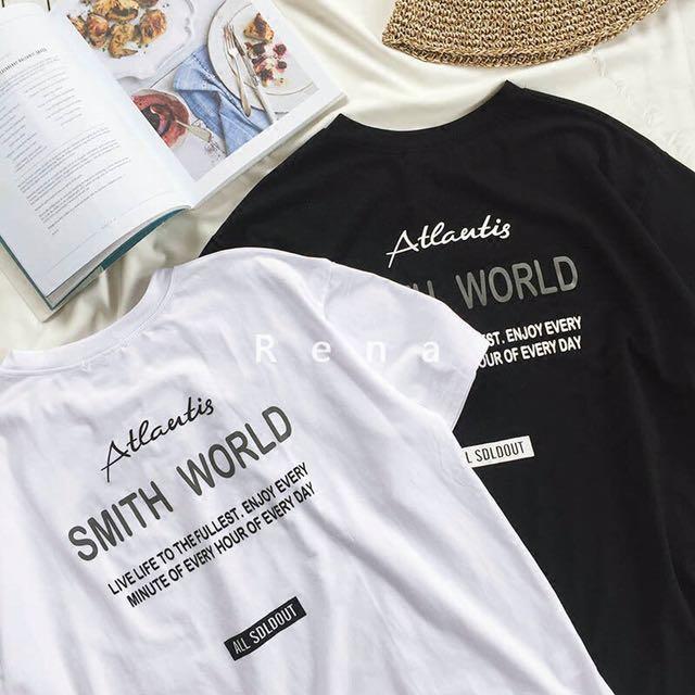 RENA前後簡約字母印花寬松顯瘦韓國夏季中長款五分中袖麻棉T恤