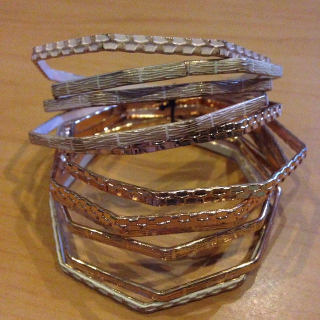 Rose Gold and White Bangles