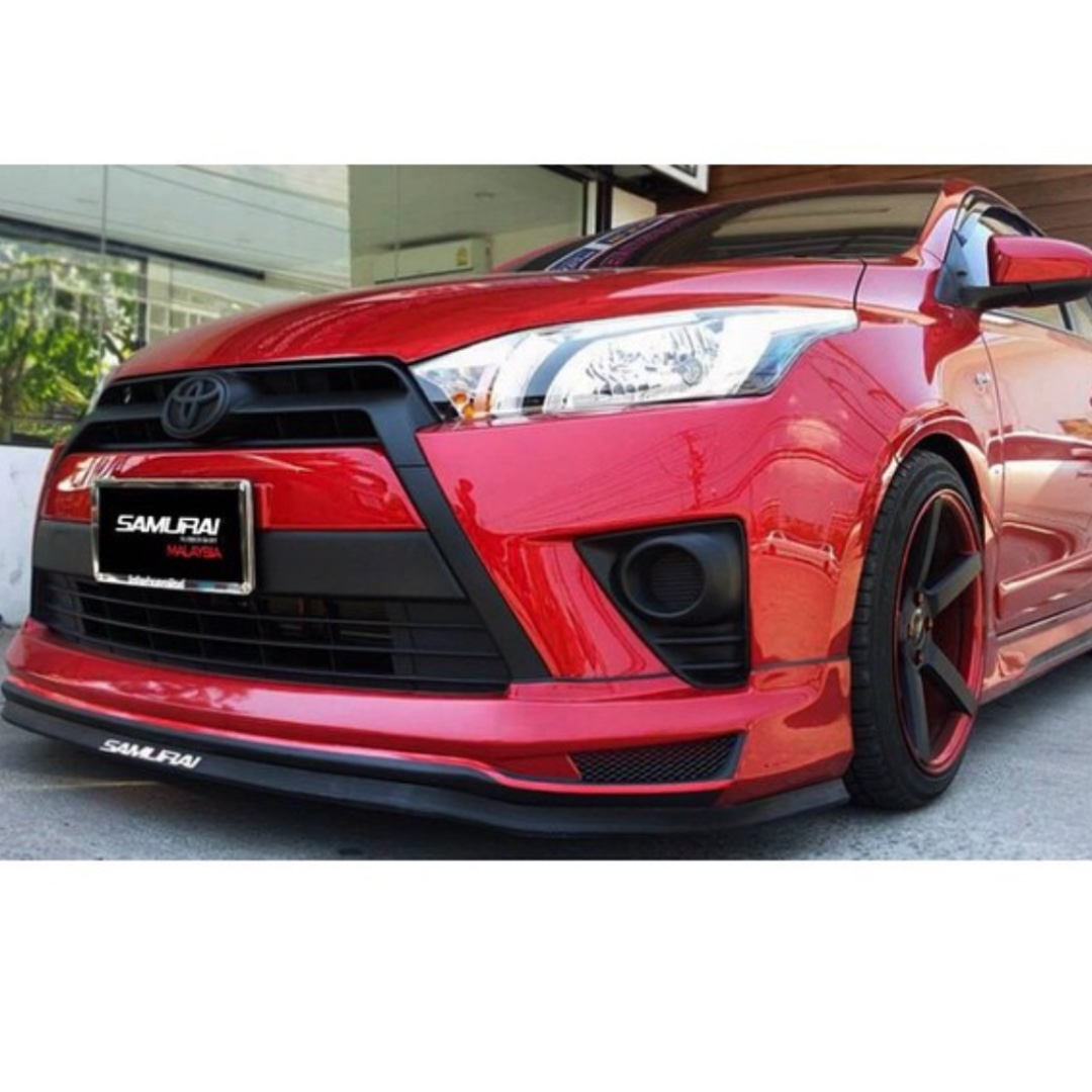 samurai black red rubber skirt front bumper spoiler lip