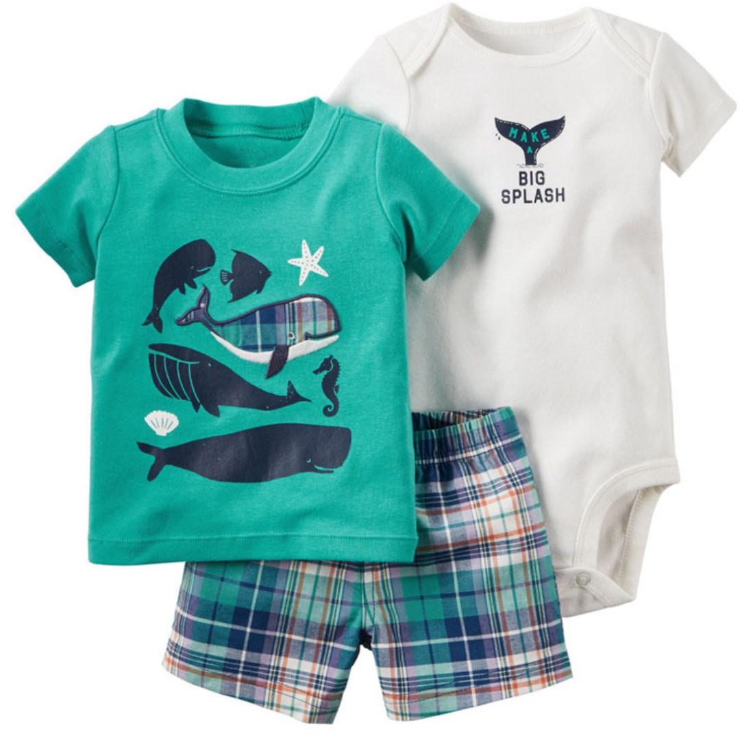 Sea Creatures Design Baby Clothing 3pcs Set
