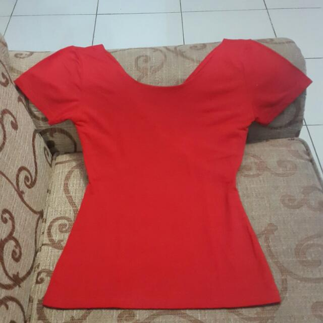 sexy back red t-shirt / atasan merah