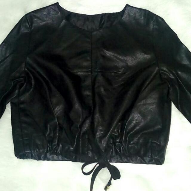 Soft leather crop top w/drawstring