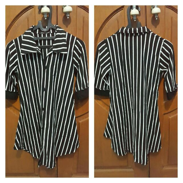 stripe Long bLouse / bLouse garis""