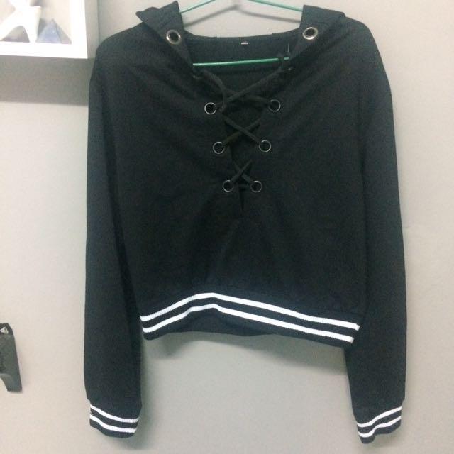 tie up hoodie pullover