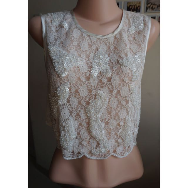 TOPSHOP- White Lace See-through Top