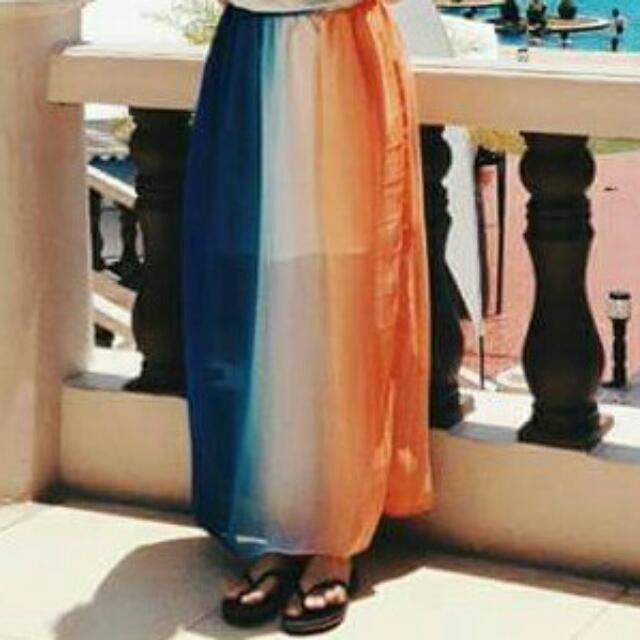 Tri-color Maxi Skirt