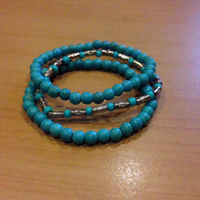 Turquoise elastic bracelet set