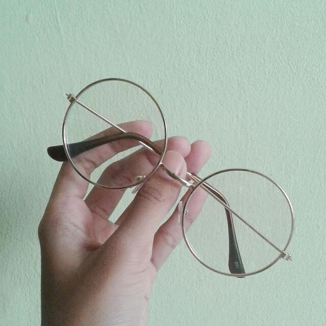 Vintage Round Glasses Gold (Normal Lens)