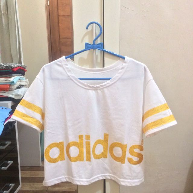 White Adidas Gold Stripes Tumblr T-Shirt Crop Tee (Putih)