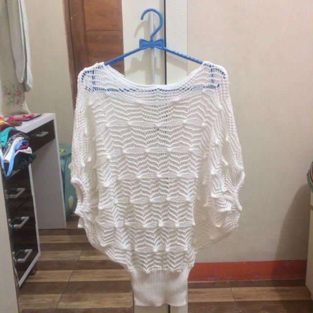 White Bat Wing / Baju Jaring Rajut Putih