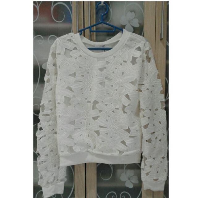 White Crochet Top Long Sleeves