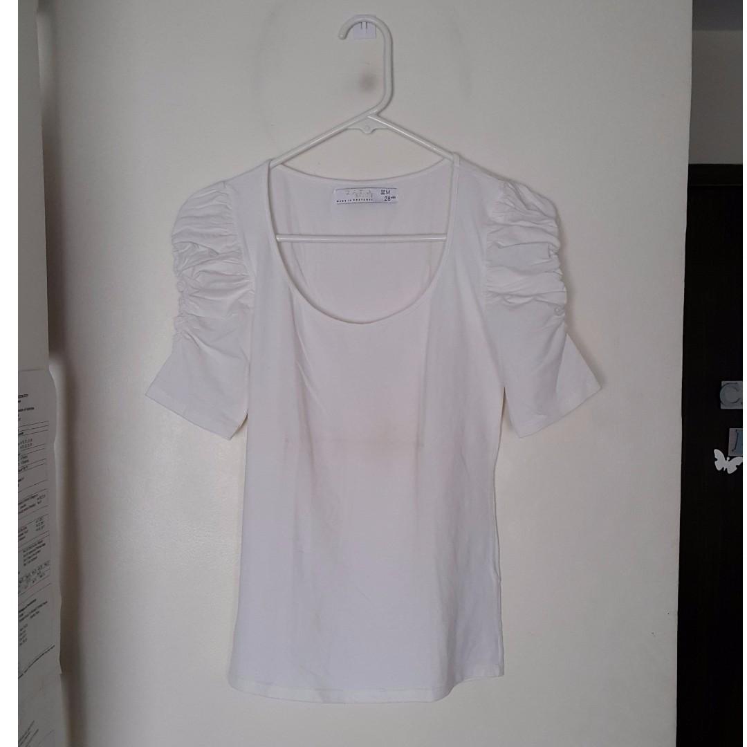 Zara T-shirt with Ruffled Sleeves