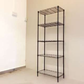 5-Tier Black Metal Rack (Shelf/Shelves)