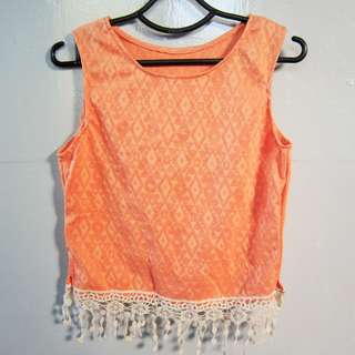 Orange cropped top with lace details