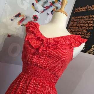 Forever 21 Red Frilled Dress