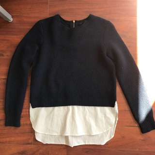 I Crew sweater With Blouse Bottom Size Xs