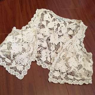 Cropped Lace Vest
