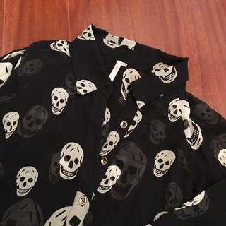 Black Chiffon Skull Blouse