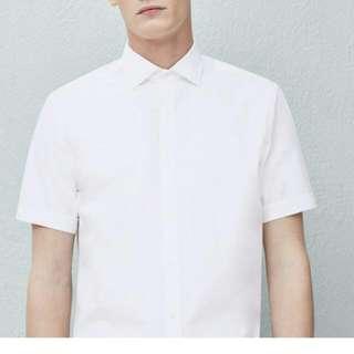 Kemeja Lengan Pendek Mango Man Pure White