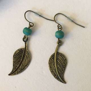 Leaf and Wood Earrings